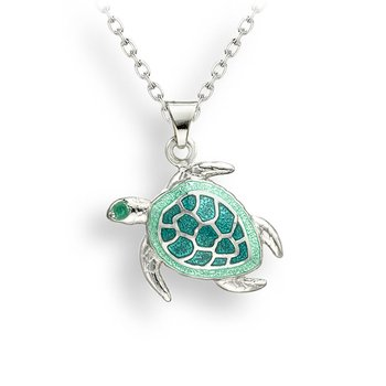 Green Turtle Necklace.Sterling Silver