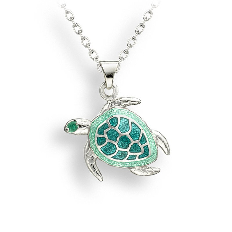 Nicole Barr Designs Green Turtle Necklace.Sterling Silver