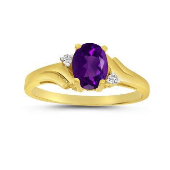 10k Yellow Gold Oval Amethyst And Diamond Ring