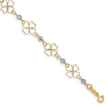14k Two-tone Diamond-cut Open Clovers & Beads Bracelet