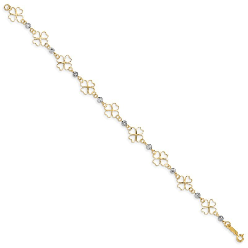 Quality Gold 14k Two-tone Diamond-cut Open Clovers & Beads Bracelet