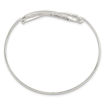 Sterling Silver Infinity w/Feather Bangle Bracelet