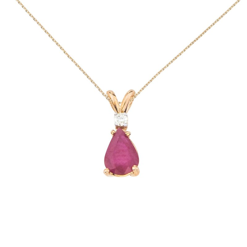14k Yellow Gold  Pear Shaped Ruby and Diamond Oval Pendant