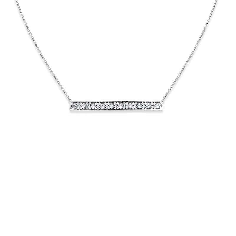 KC Designs Diamond Bar Necklace in 14k White Gold with 10 Diamonds weighing .10ct tw