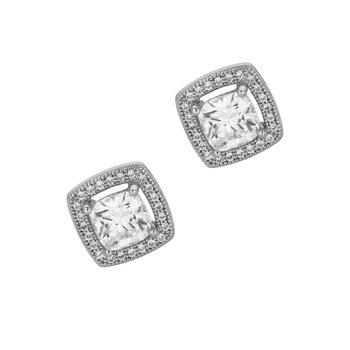 Silver Cushion CZ with Halo Stud Earrings