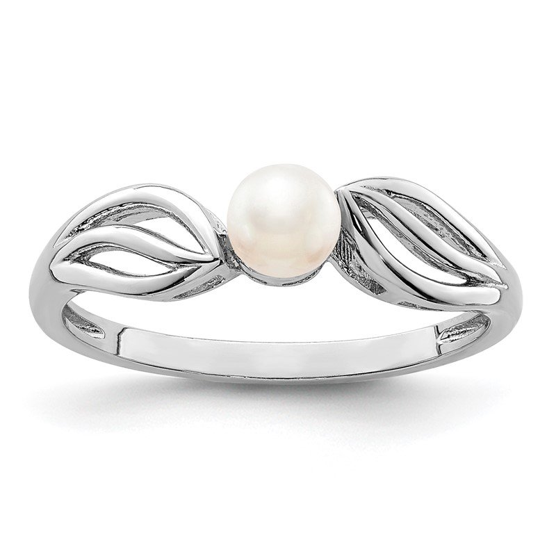 Quality Gold Sterling Silver Rhodium-plated FW Cultured Pearl Ring