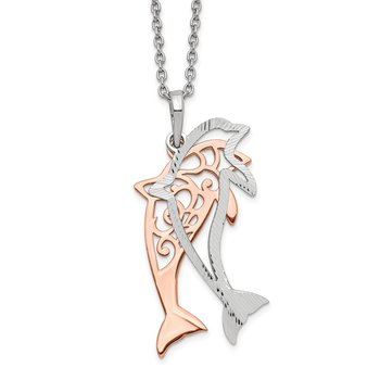 Sterling Silver Rose-tone Diamond-cut Dolphin w/ 2in ext. Necklace