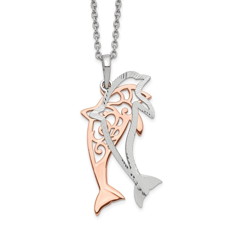 Quality Gold Sterling Silver Rose-tone Diamond-cut Dolphin w/ 2in ext. Necklace