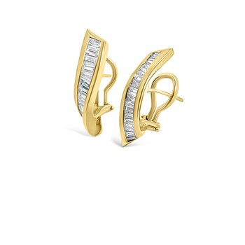 Yellow Gold Diamond Retro Vintage Earrings