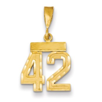 14k Small Diamond-cut Number 42 Charm