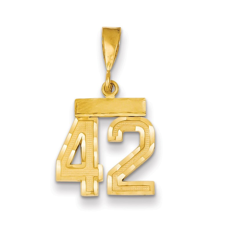 Quality Gold 14k Small Diamond-cut Number 42 Charm