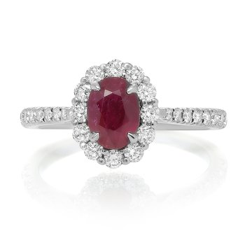 White Gold Oval Cut Ruby Ring