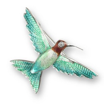 Green Hummingbird Brooch-Pendant.Sterling Silver-White Sapphires