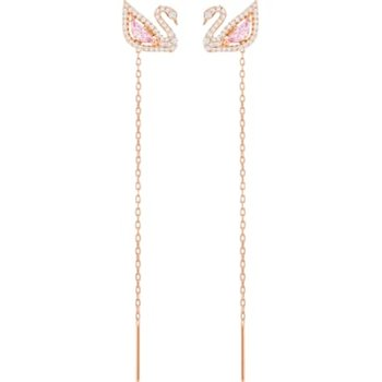 Dazzling Swan Pierced Earrings, Multi-colored, Rose-gold tone plated