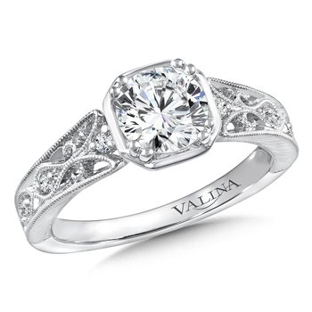 Diamond Engagement Ring Mounting in 14K White Gold (.08 ct. tw.)