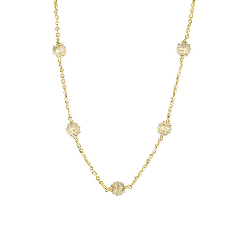 Royal Chain 14K Gold Satin Bead Station Strand Necklace