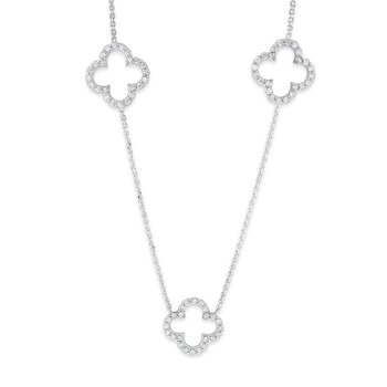 Diamond Triple Open Clover Necklace in 14K White Gold with 72 Diamonds Weighing  .64ct tw