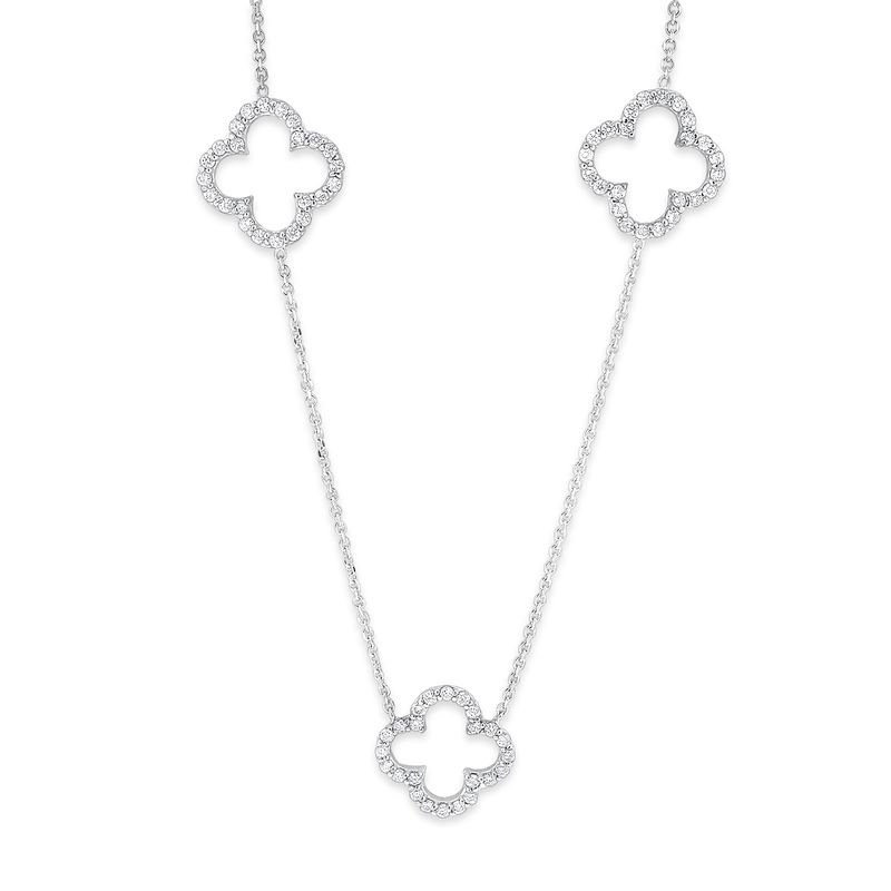 MAZZARESE Fashion Diamond Triple Open Clover Necklace in 14K White Gold with 72 Diamonds Weighing  .64ct tw