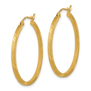 14k Satin & D/C Square Tube Hoop Earrings