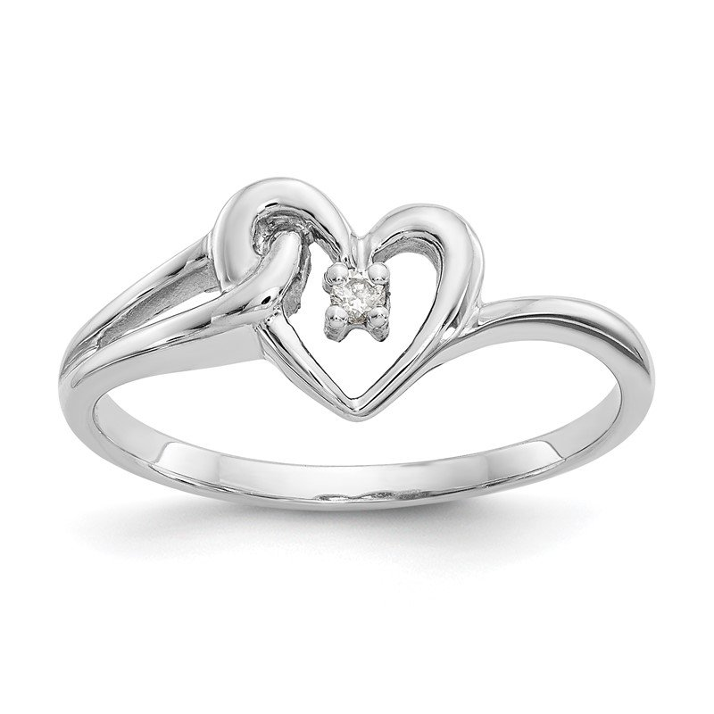 Quality Gold 14k White Gold Polished AA Diamond heart ring