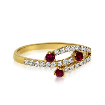 14k Yellow Gold Modern Ruby and Diamond Ring