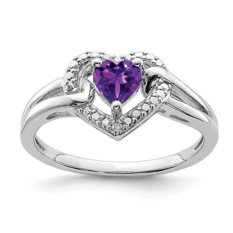 Quality Gold Sterling Silver Rhodium-plated Amethyst Diamond Ring