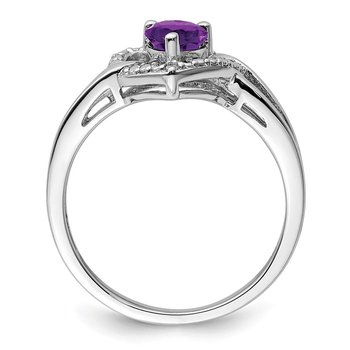 Sterling Silver Rhodium-plated Amethyst Diamond Ring