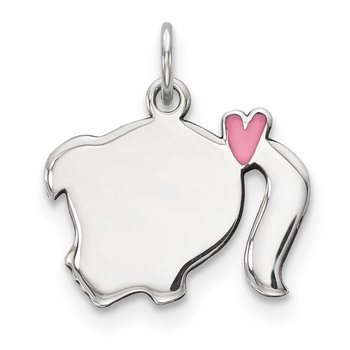 Sterling Silver Rhod-plate Pink Enamel Left Facing Girl Head Disc Charm