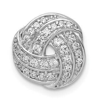 14k White Gold 1/4ct. Diamond Love Knot Chain Slide