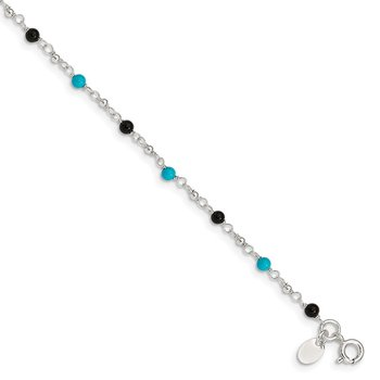 Sterling Silver Onyx/Turquoise Beads Anklet
