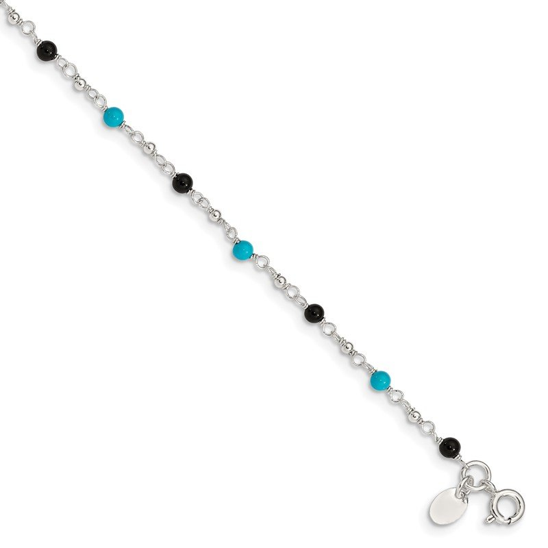 Quality Gold Sterling Silver Onyx/Turquoise Beads Anklet