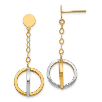 Leslie's 14k with Rhodium Polished Circle Dangle Earrings