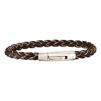 Sterling Silver Woven Leather Bracelet