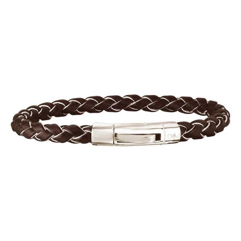 Royal Chain Sterling Silver Woven Leather Bracelet