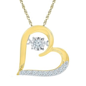 10kt Yellow Gold Womens Round Diamond Heart Moving Twinkle Pendant 1/8 Cttw