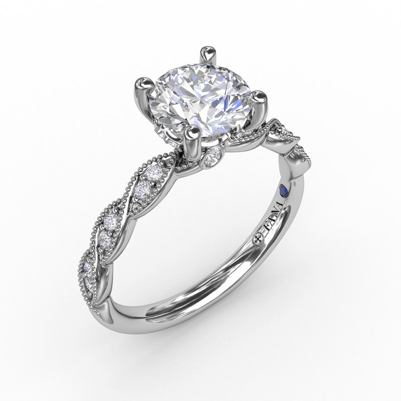 Fana Classic Diamond Solitaire Engagement Ring With Diamond Twist Band