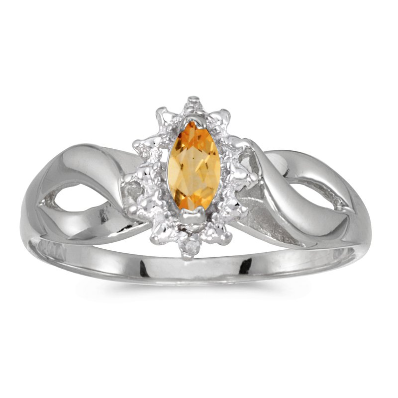 Color Merchants 10k White Gold Marquise Citrine And Diamond Ring