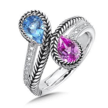 Sterling silver,  created pink sapphire and blue topaz diamond ring.