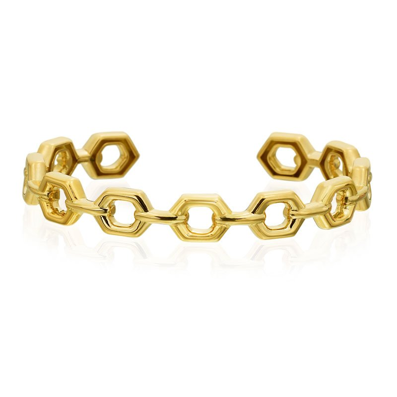 "Gumuchian Honeybee ""B"" Linking Honeycomb Bangle B318G"