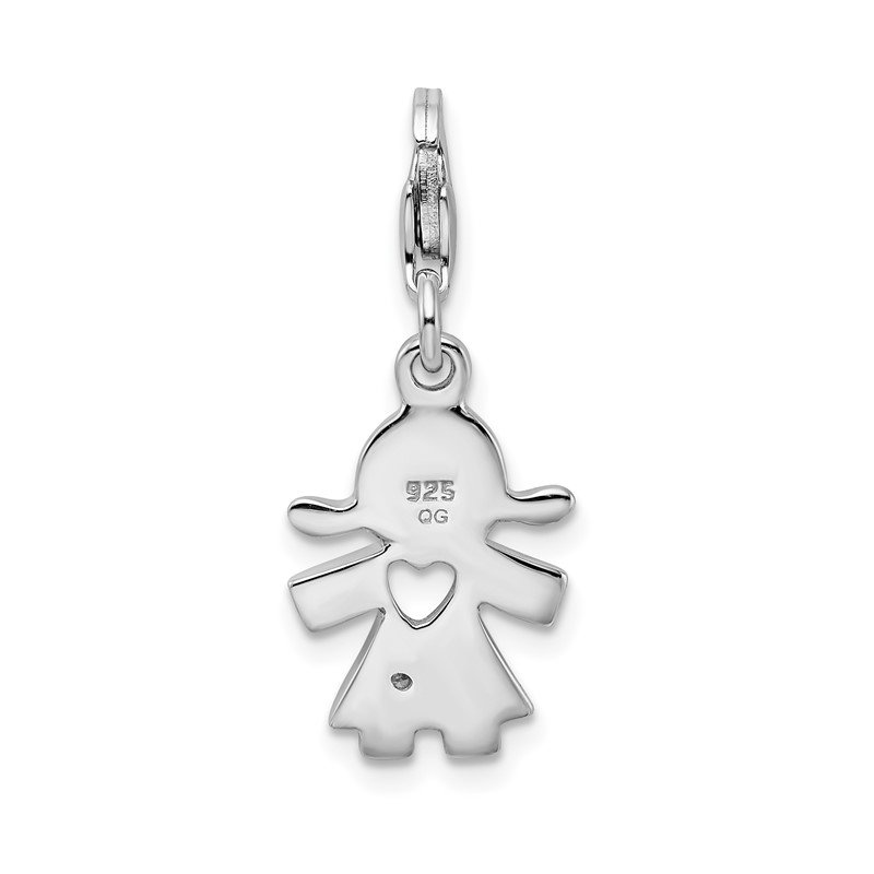 Arizona Diamond Center Collection Sterling Silver Amore La Vita Rhod-pl CZ Little Girl Cut-out Heart Charm