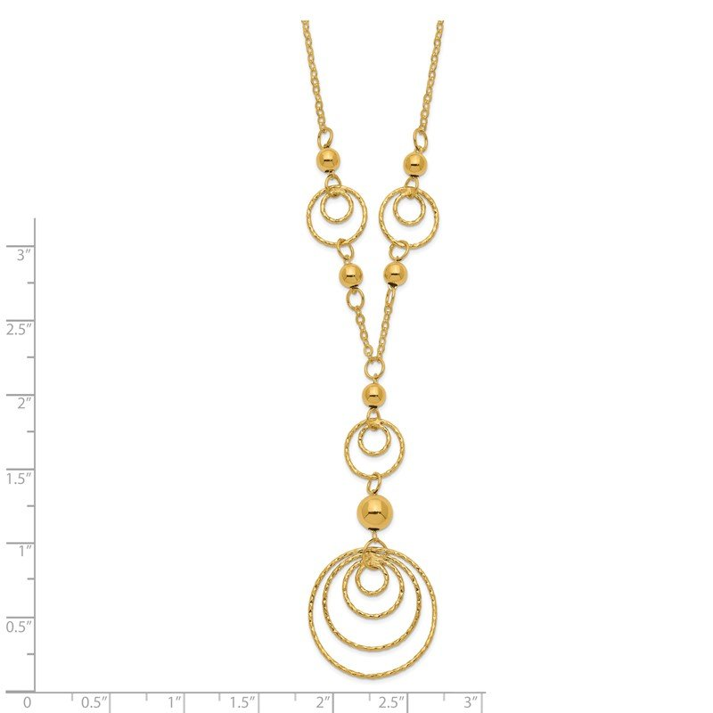 Quality Gold 14KY Textured Circles/Polished Beads Necklace