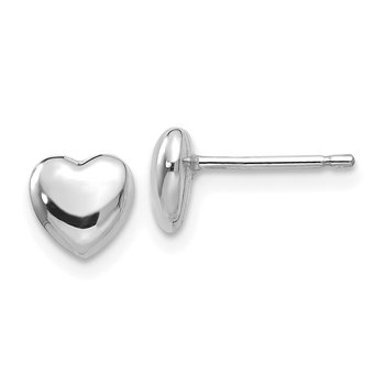 14k White Gold Heart Post Stud Earrings
