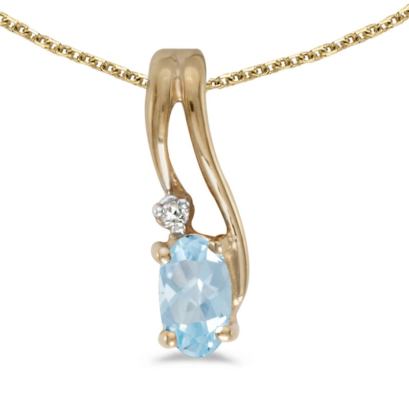14k Yellow Gold Oval Aquamarine And Diamond Wave Pendant
