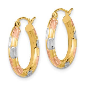 14k Yellow Gold w/ White & Rose Rhodium Polished, Satin & D/C Hoop Earrings