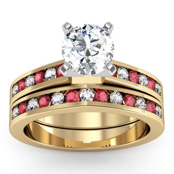 Channel set Ruby and Diamond Wedding Band