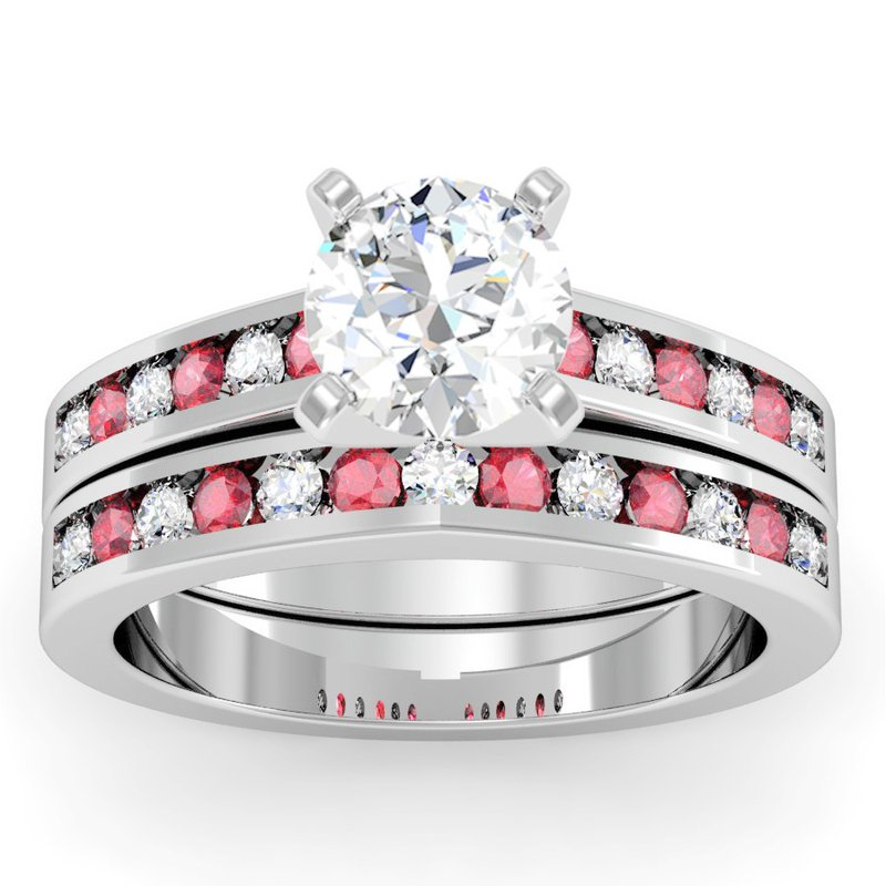 California Coast Designs Channel set Ruby and Diamond Wedding Band