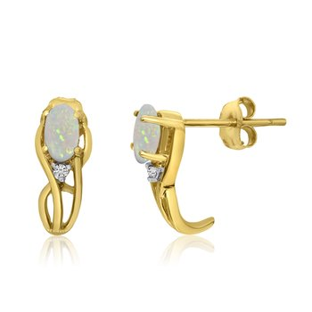 14K Yellow Gold Curved Opal and Diamond Earrings