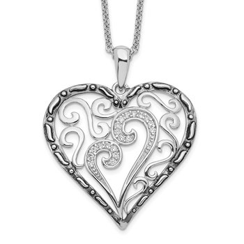 Sterling Silver CZ Antiqued A Mother's Touch 18in Necklace