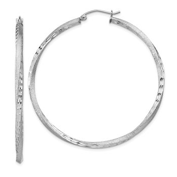 Sterling Silver RH-plated Satin Diamond-cut 2.5x50mm Twisted Hoop Earrings