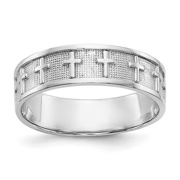 14k White Gold Polished & Satin Cross Band